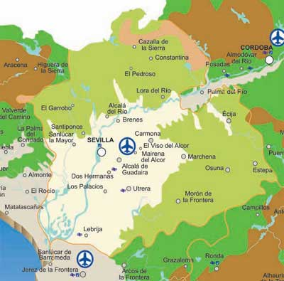 Map of Seville Rivers - Andaluciacar.com