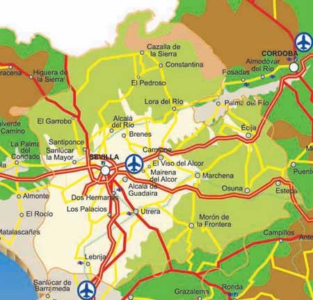 Mapa De Carreteras De Sevilla Andaluciacar Com