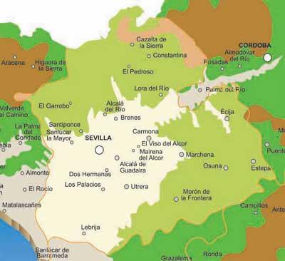 Provincia De Sevilla Mapa.Mapa Provincia De Sevilla Andaluciacar Com